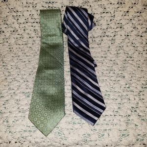 DKNY & TOMMY HILFIGER bundle of 2 ties blue/green